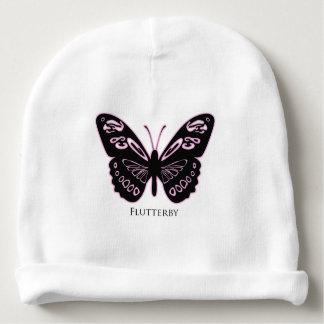 Resplandor rosado negro de Flutterby Gorrito Para Bebe
