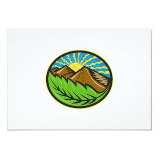 Resplandor solar de la hoja de las montañas retro invitación 8,9 x 12,7 cm