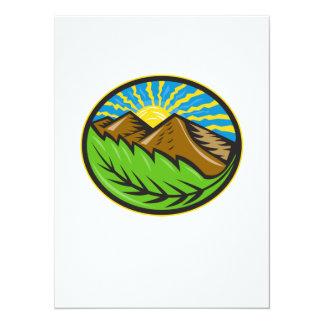 Resplandor solar de la hoja de las montañas retro invitación 13,9 x 19,0 cm