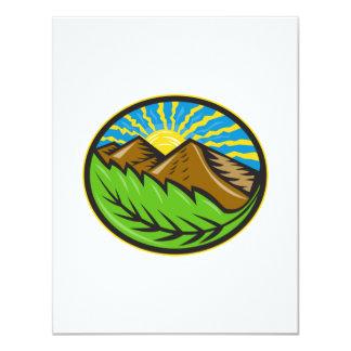 Resplandor solar de la hoja de las montañas retro invitación 10,8 x 13,9 cm