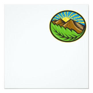 Resplandor solar de la hoja de las montañas retro invitación 13,3 cm x 13,3cm