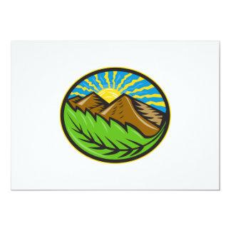 Resplandor solar de la hoja de las montañas retro invitación 12,7 x 17,8 cm