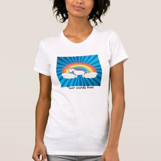 Resplandor solar del azul del unicornio del arco camisetas