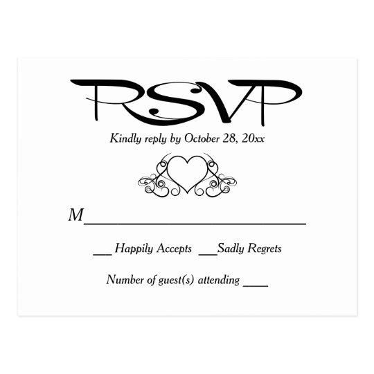 Respuesta blanco y negro del banquete de boda del postal