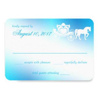 Respuesta del azul de pavo real del carro del invitación 8,9 x 12,7 cm