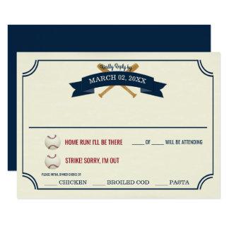 Respuesta del boda del béisbol del vintage invitación 8,9 x 12,7 cm