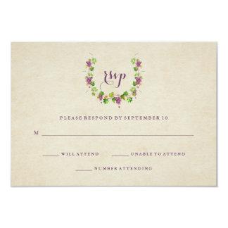 Respuesta del boda del tema del vino del viñedo el invitación 8,9 x 12,7 cm
