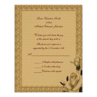 Respuesta floral RSVP del boda de los capullos de Invitación 10,8 X 13,9 Cm