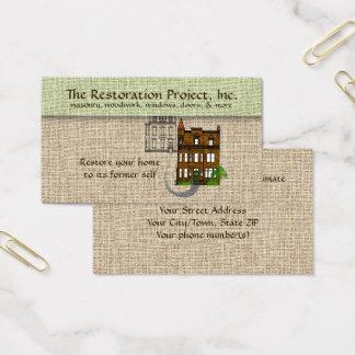 Restauración profesional, preservación, tarjeta de negocios
