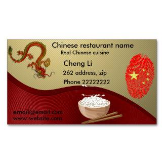 Restaurante chino tarjeta de visita magnética