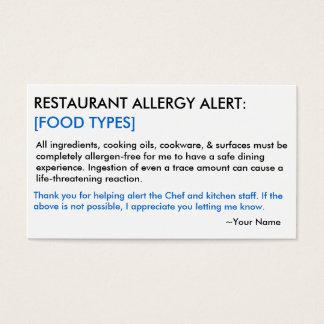 Restaurante de la alergia alimentaria y tarjeta