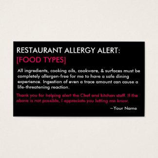 Restaurante de la alergia y tarjeta personalizados