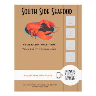 Restaurante de los mariscos de la plantilla del av tarjetas informativas