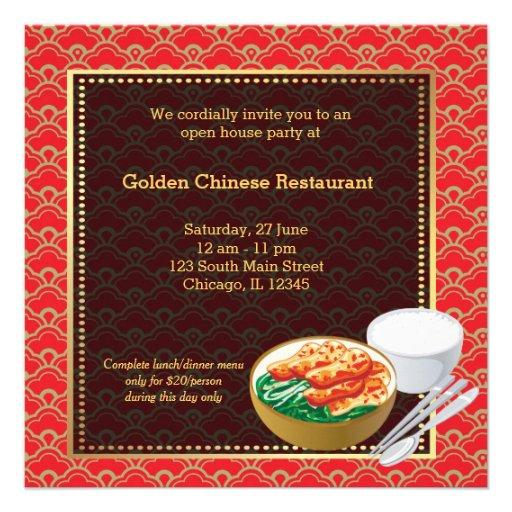 Restaurante del chino de la gran inauguración invitaciones personalizada