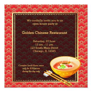 Restaurante del chino de la gran inauguración invitación 13,3 cm x 13,3cm