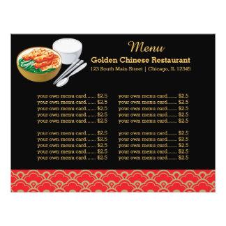 Restaurante del chino del menú flyer personalizado