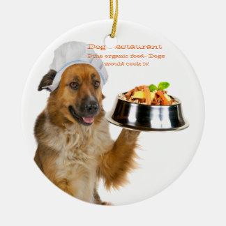 Restaurante del perro ornamento de reyes magos