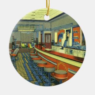 Restaurante del vintage, interior retro del comens adorno de navidad