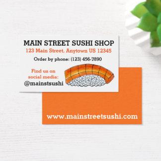 Restaurante japonés de color salmón de la tienda tarjeta de negocios