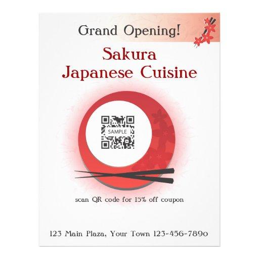 Restaurante japonés de la plantilla del aviador tarjetas informativas