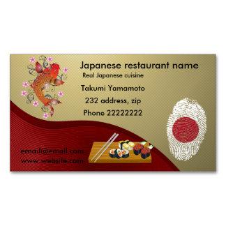 Restaurante japonés tarjetas de visita magnéticas