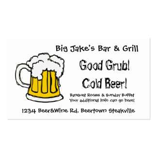 Restaurante o licorería del bar y grill de la cerv tarjeta de visita