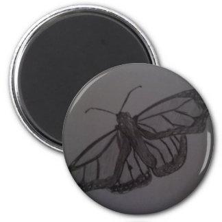Resurrección de la mariposa: Arte dibujado mano de Imán Redondo 5 Cm
