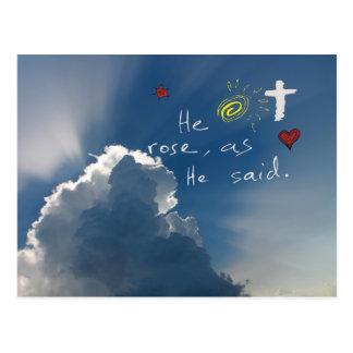 Resurrección de Pascua él es Jesús subido subió Postal