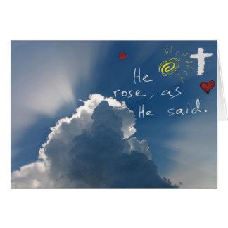 Resurrección de Pascua él es Jesús subido subió Tarjeta Pequeña