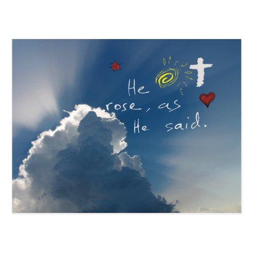 Resurrección de Pascua él es Jesús subido subió Postales