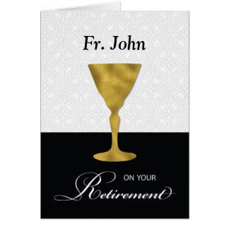 Retiro conocido de encargo del sacerdote, cáliz tarjeta de felicitación