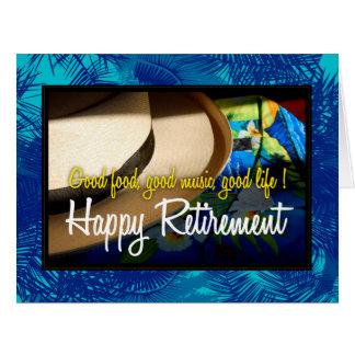 Retiro feliz tropical en tarjeta azul del XL