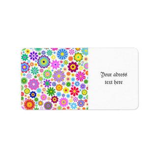 retra, floral, de moda, feliz, colorido, femenino, etiquetas de dirección
