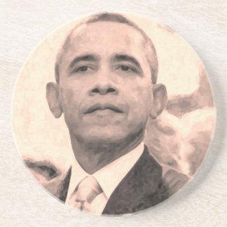 Retrato abstracto de presidente Barack Obama 30x30 Posavasos