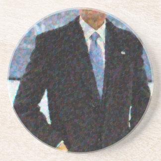 Retrato abstracto de presidente Barack Obama Posavasos