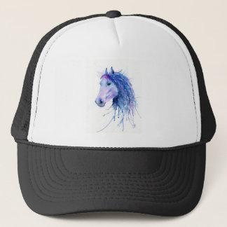 Retrato abstracto del caballo de la acuarela gorra de camionero