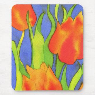 Retrato anaranjado Mousemat de los tulipanes Tapetes De Raton