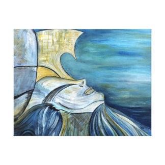 """Retrato azul 1,5"""" de la diosa de la sirena de la lienzo"""