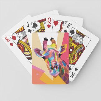 Retrato colorido de la jirafa del arte pop baraja de cartas