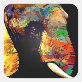 Retrato colorido intrépido de la cabeza del pegatina cuadrada