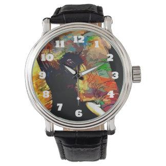 Retrato colorido intrépido de la cabeza del reloj