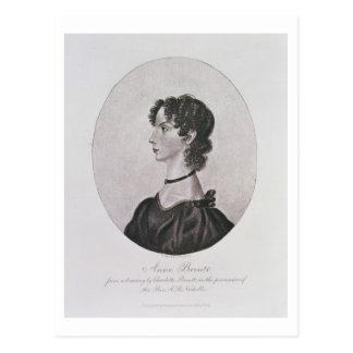 Retrato de Anne Bronte (1820-49) de un dibujo i Postal