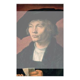 Retrato de Bernard von Reesen por Durer Folleto 14 X 21,6 Cm