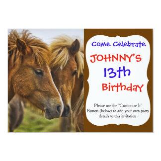 Retrato de dos caballos invitación 12,7 x 17,8 cm