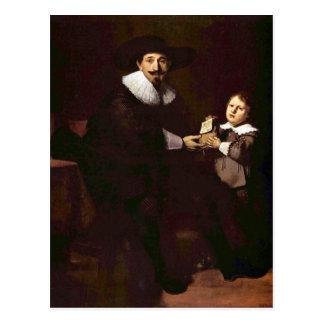 Retrato de enero y de su hijo Pellicorne - Rembran Postal