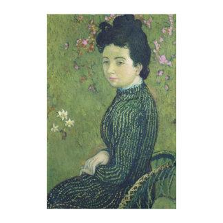 Retrato de Eva Meurier en un vestido verde Lona Envuelta Para Galerías