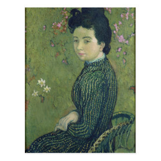 Retrato de Eva Meurier en un vestido verde Postal