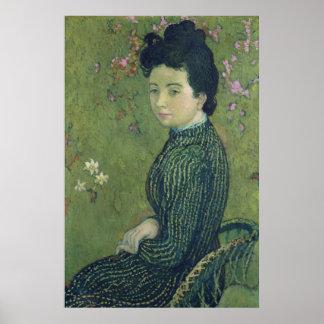 Retrato de Eva Meurier en un vestido verde Póster