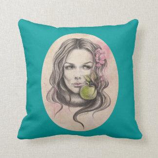 Retrato de Eve Woman con la almohada de tiro de la