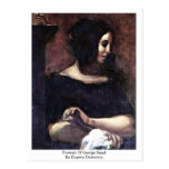 Retrato de George Sand de Eugene Delacroix Postal